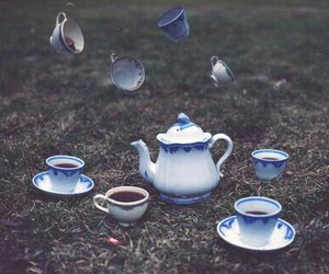 tea, alice in wonderland, and black and white image