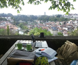 study, book, and view image