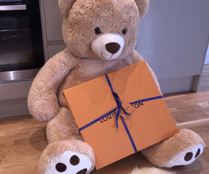 gift, bear, and present image