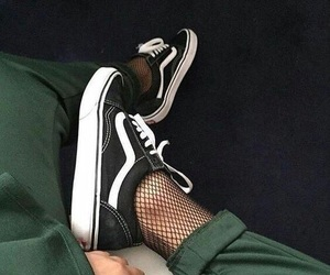fishnets, green, and vans image
