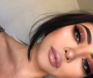black hair, eyes, and full lips image
