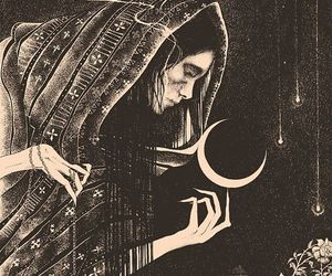 moon, witch, and art image