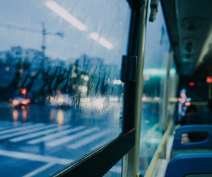bus, rain, and window image