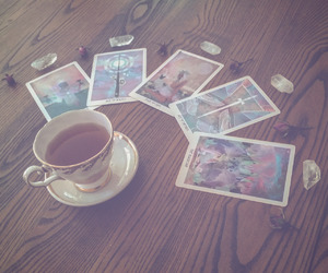 cards, tarot, and tea image
