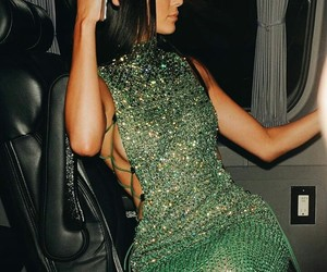 kendall jenner, dress, and green image