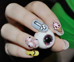 nails, eye, and ice cream image