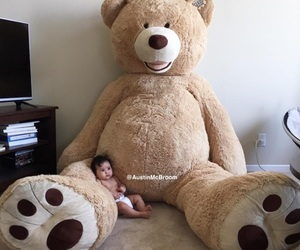 baby, girl, and teddy image