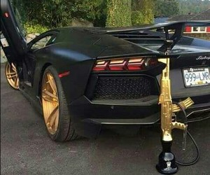 car, gold, and shisha image