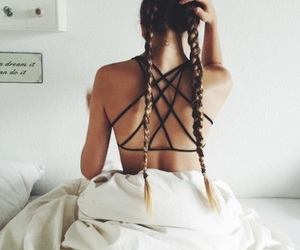 bed, braids, and outfit image