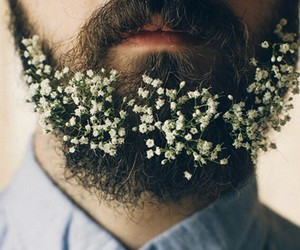 beard, flowers, and man image