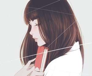 girl, book, and art image