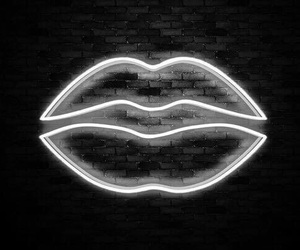 lips, neon, and black image