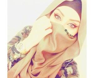 beauty, eyes, and hijab image