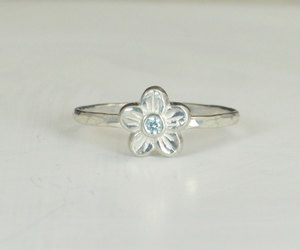 etsy, silver ring, and aquamarine ring image
