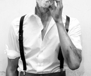 smoke, black and white, and man image
