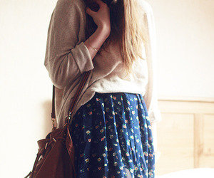 girl, hair, and skirt image