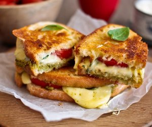 basil, grilled cheese, and mozzarella image