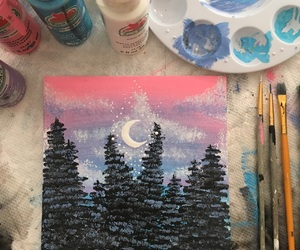 art, painting, and woods image