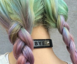 colorful, hair, and necklace image