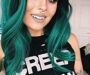 hair, makeup, and green image
