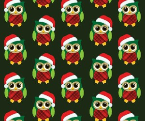 christmas, owls, and pattern image
