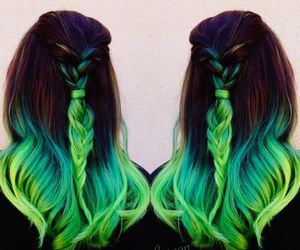 green, hair, and style image