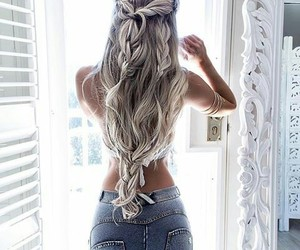 beautiful, jeans, and hair image