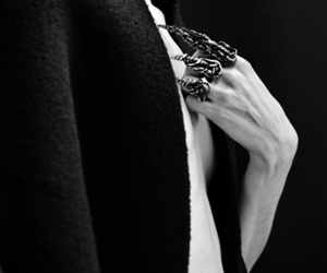 black and white, outfit, and rings image
