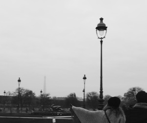 black and white, couple, and love in paris image