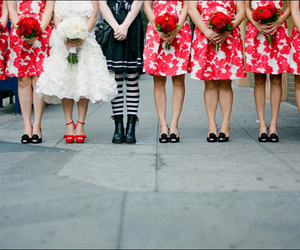 pink dresses, bride, and wedding image