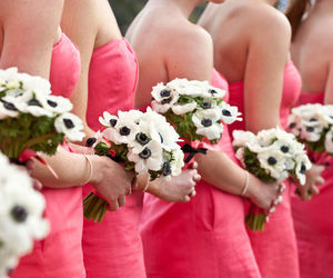 bridesmaids, flowers, and pink dresses image