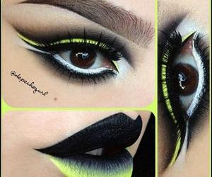 eyeshadows, cut crease, and black image