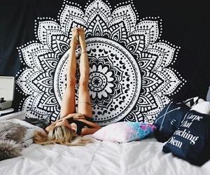 mandala, room, and bed image