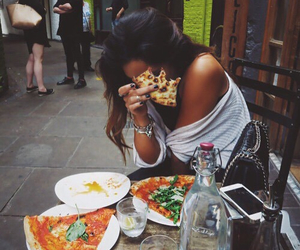 pizza, girl, and food image