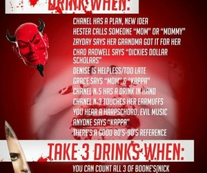 funny, scream queens, and drinking games image