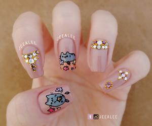 nails, nail art, and pusheen image