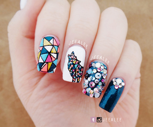 geometric, wolf, and nail art image