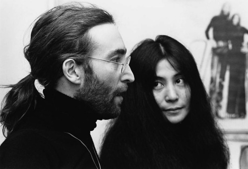 john lennon, Yoko Ono, and black and white image