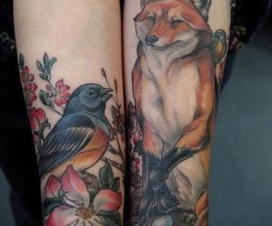 tattoo, fox, and bird image