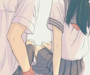 holding hands, lovely, and anime couple image