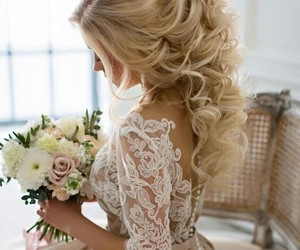 wedding, hair, and flowers image