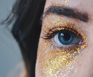eyes, glitter, and gold image