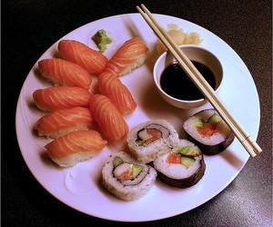 sushi, food, and japanese food image