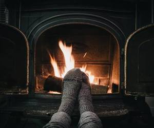 fire, winter, and cozy image
