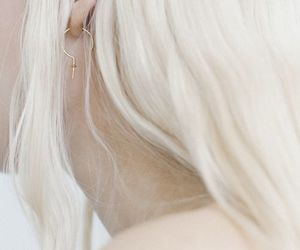 earrings, gold, and hair image