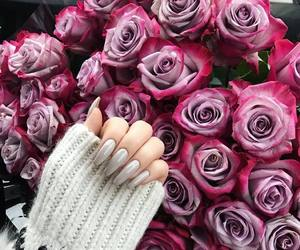 nails, flowers, and beautiful image