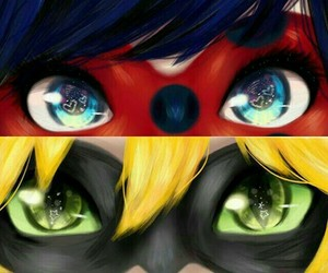 ladybug, Chat Noir, and eyes image