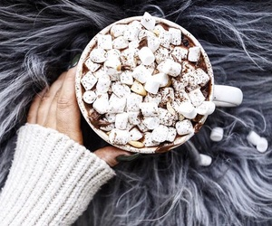 drink, hot cocoa, and marshmellows image