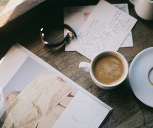 book, clock, and coffe image