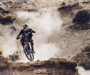bike, dark, and downhill image